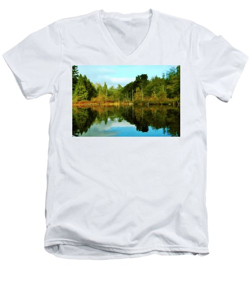 Men's V-Neck T-Shirt featuring the digital art Reflections by Timothy Hack