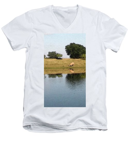 Men's V-Neck T-Shirt featuring the photograph Reflective Cow by Donna G Smith