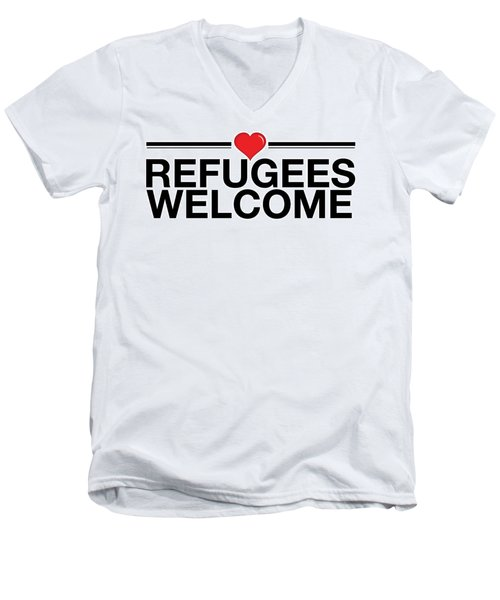 Refugees Wecome Men's V-Neck T-Shirt