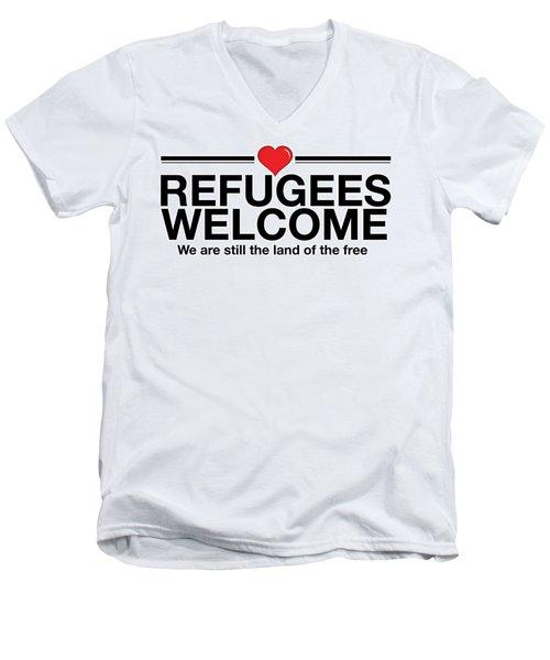 Refugees Welcome Men's V-Neck T-Shirt by Greg Slocum