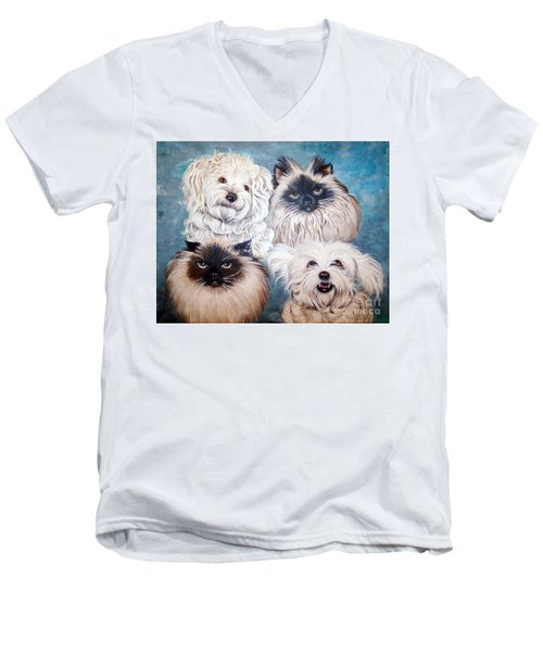 Reigning Cats N Dogs Men's V-Neck T-Shirt