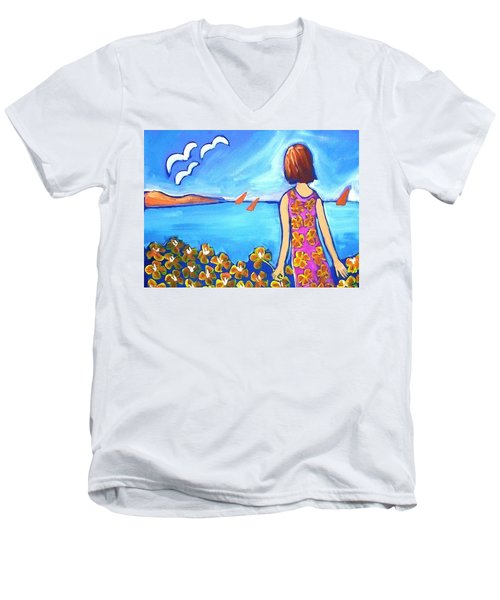 Men's V-Neck T-Shirt featuring the painting Remembering Joy by Winsome Gunning