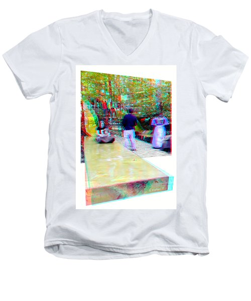 Men's V-Neck T-Shirt featuring the photograph Renaissance Slide - Red-cyan 3d Glasses Required by Brian Wallace