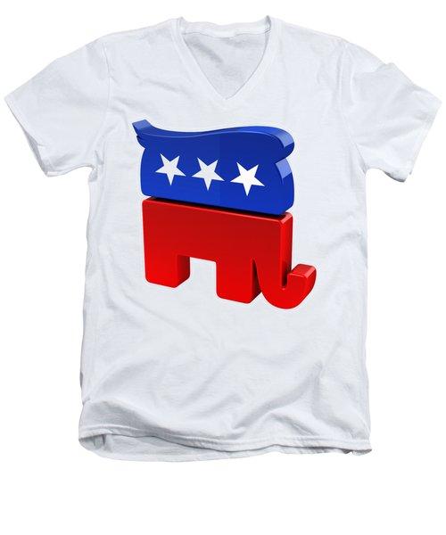 Republican Elephant With Trump Hair Men's V-Neck T-Shirt by Carsten Reisinger
