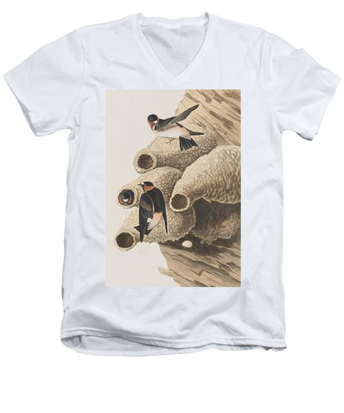 Republican Or Cliff Swallow Men's V-Neck T-Shirt by John James Audubon