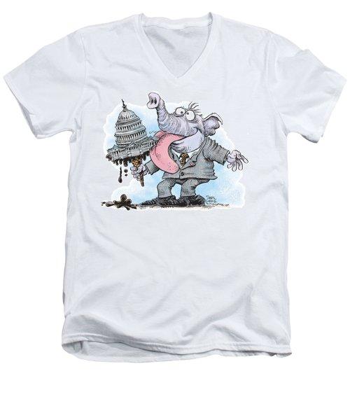 Republicans Lick Congress Men's V-Neck T-Shirt