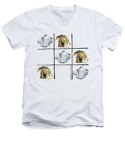 Men's V-Neck T-Shirt featuring the drawing Republicans Win Tic Tac Toe by Daryl Cagle