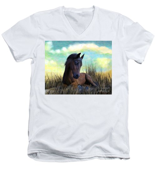 Resting Foal Men's V-Neck T-Shirt
