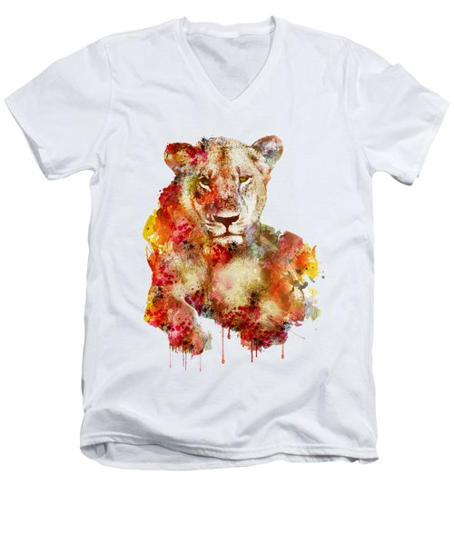 Resting Lioness In Watercolor Men's V-Neck T-Shirt by Marian Voicu