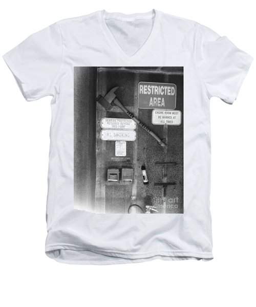 Restricted Area Men's V-Neck T-Shirt by WaLdEmAr BoRrErO
