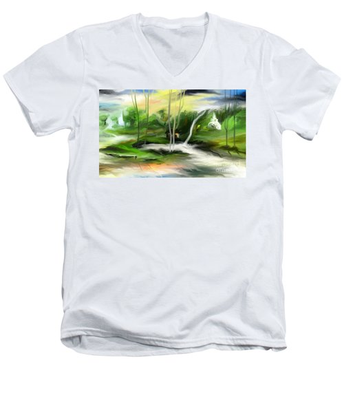 Men's V-Neck T-Shirt featuring the painting Retreat by Rushan Ruzaick