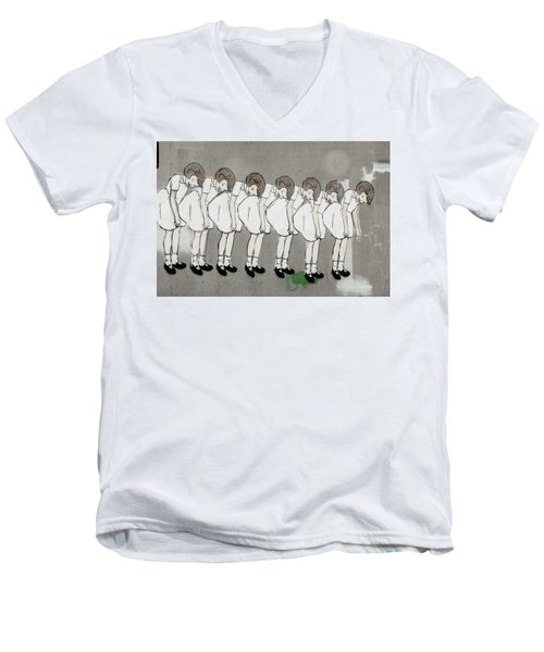 Men's V-Neck T-Shirt featuring the photograph Retro Girl by Art Block Collections