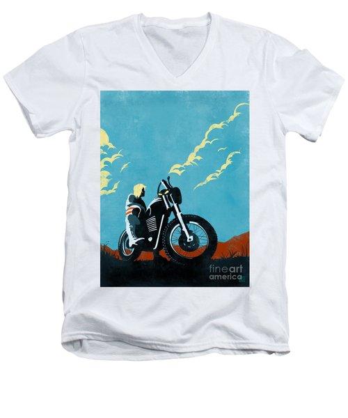 Retro Scrambler Motorbike Men's V-Neck T-Shirt