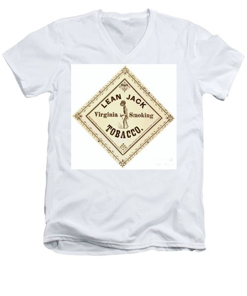 Men's V-Neck T-Shirt featuring the photograph Retro Tobacco Label 1867 A by Padre Art