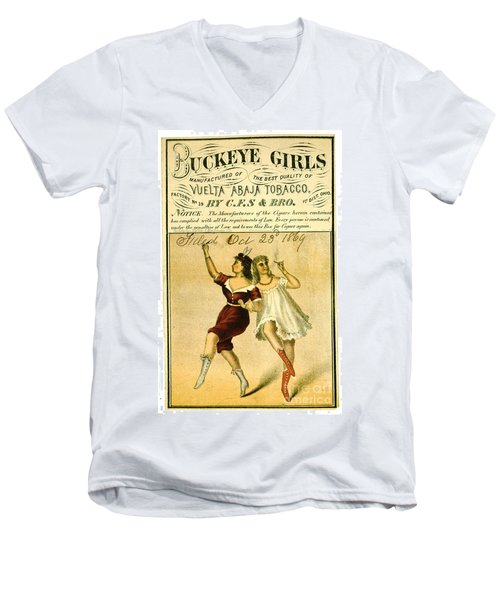 Men's V-Neck T-Shirt featuring the photograph Retro Tobacco Label 1869 F by Padre Art