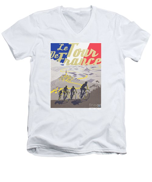 Retro Tour De France Men's V-Neck T-Shirt by Sassan Filsoof