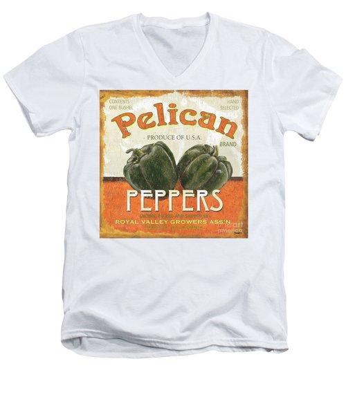 Retro Veggie Labels 3 Men's V-Neck T-Shirt