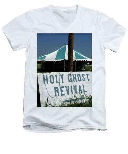 Men's V-Neck T-Shirt featuring the photograph Revival Tent by Joe Jake Pratt