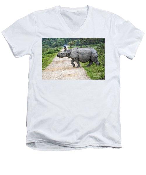 Rhino Crossing Men's V-Neck T-Shirt by Pravine Chester