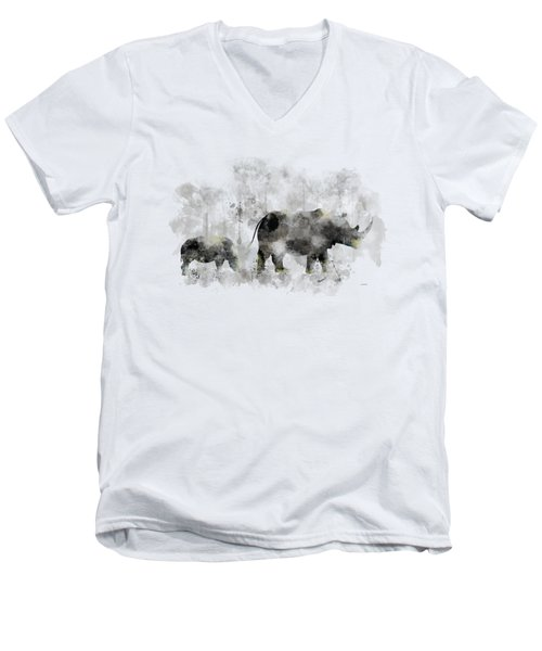 Rhinoceros And Baby Men's V-Neck T-Shirt by Marlene Watson