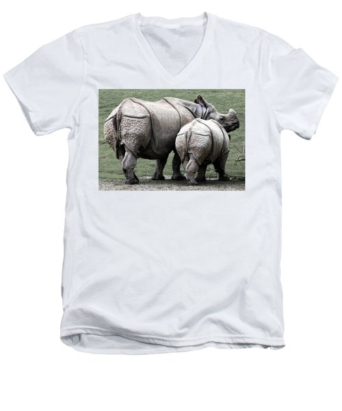 Rhinoceros Mother And Calf In Wild Men's V-Neck T-Shirt by Daniel Hagerman