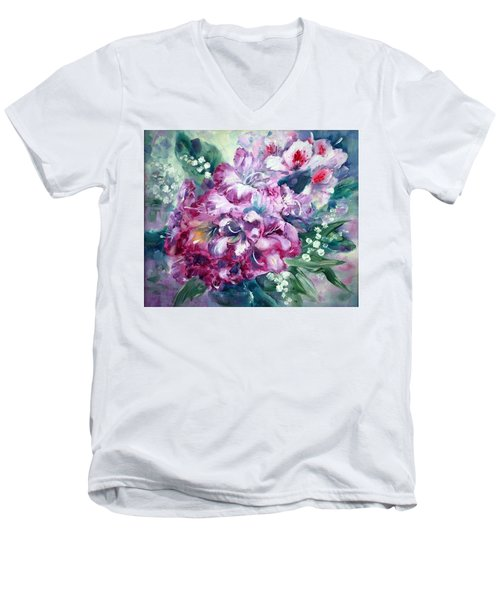 Rhododendron And Lily Of The Valley Men's V-Neck T-Shirt