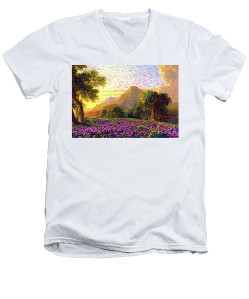 Rhododendrons, Rabbits And Radiant Memories Men's V-Neck T-Shirt