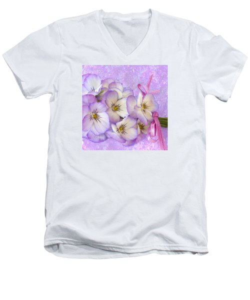 Ribboned Pansies  Men's V-Neck T-Shirt by Sandra Foster