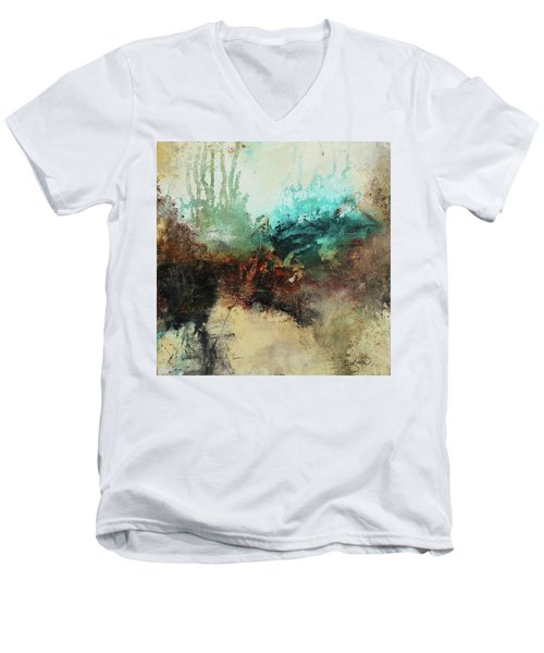 Rich Earth Tones Abstract Not For The Faint Of Heart Men's V-Neck T-Shirt by Patricia Lintner