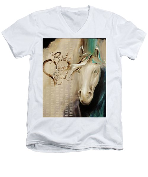 Ride Like A Girl 16x20 Men's V-Neck T-Shirt
