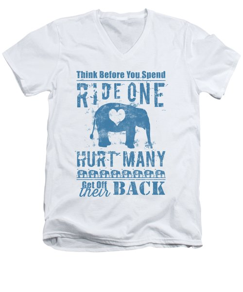 Ride One Elephant Hurt Many Men's V-Neck T-Shirt by Nola Lee Kelsey