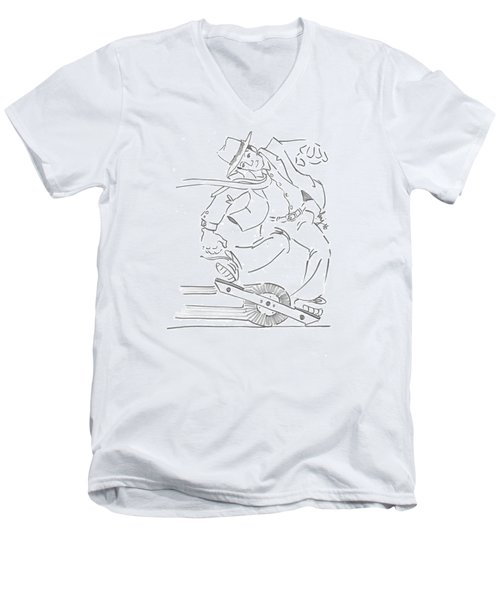 Ride One Wheel Cartoon - Never Be Late Again Men's V-Neck T-Shirt