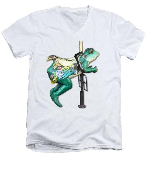 Ride The Frog Men's V-Neck T-Shirt by Bob Slitzan
