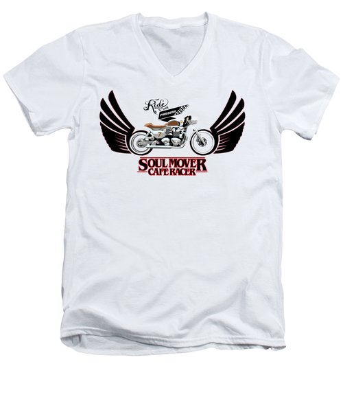 Ride With Passion Cafe Racer Men's V-Neck T-Shirt