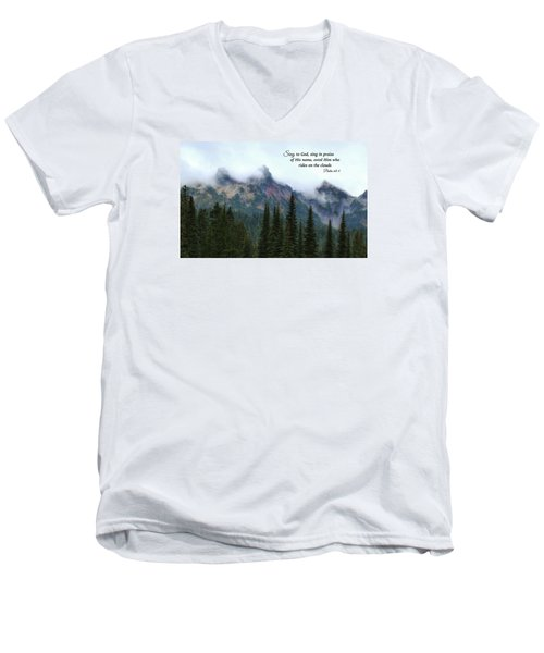 Men's V-Neck T-Shirt featuring the photograph Rides On The Clouds by Lynn Hopwood