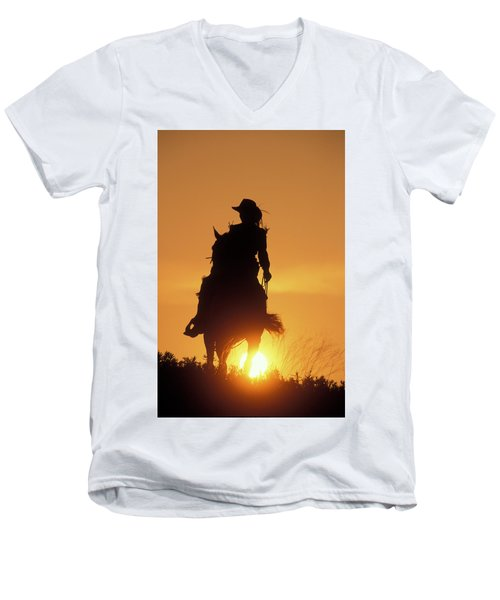 Riding Cowgirl Sunset Men's V-Neck T-Shirt