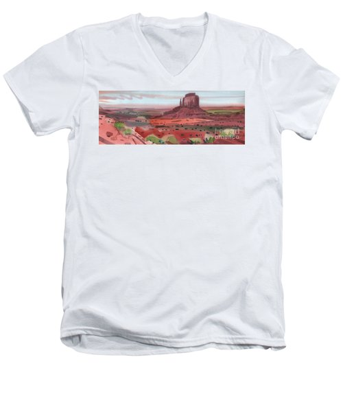 Right Mitten Panorama Men's V-Neck T-Shirt by Donald Maier