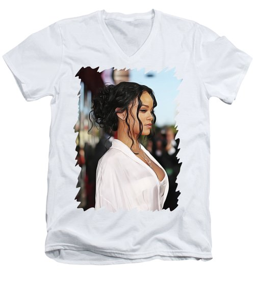 Rihanna Men's V-Neck T-Shirt by Twinkle Mehta