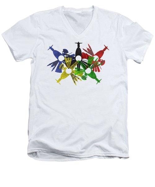 Rio De Janeiro Skyline In Various Colors Men's V-Neck T-Shirt