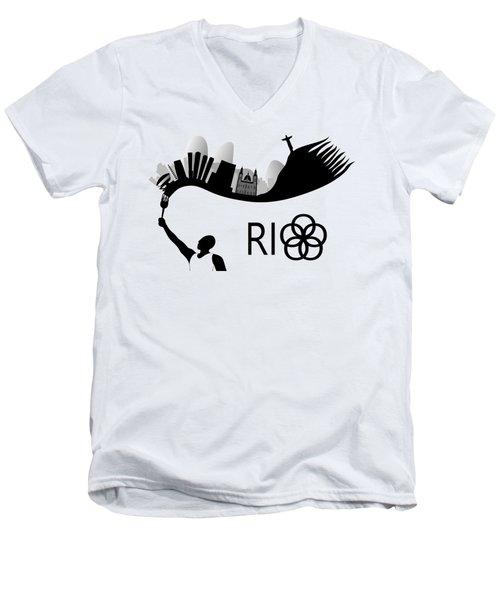 Rio De Janeiro Skyline Looks Like Torch Flames Men's V-Neck T-Shirt by Michal Boubin