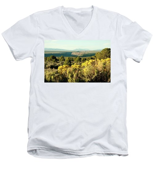 Men's V-Neck T-Shirt featuring the photograph Rio Grande Gorge by Jim Arnold