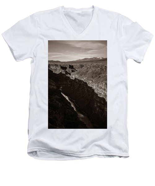 Men's V-Neck T-Shirt featuring the photograph Rio Grande River Taos by Marilyn Hunt