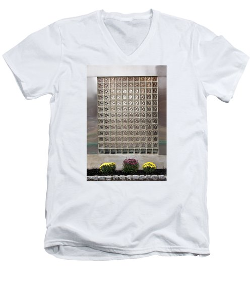 Men's V-Neck T-Shirt featuring the photograph Rippled Glsss Window Segments Above The Garden by Gary Slawsky