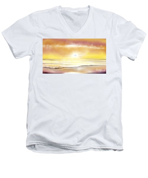 Men's V-Neck T-Shirt featuring the painting Rise And Shine by Dawn Harrell
