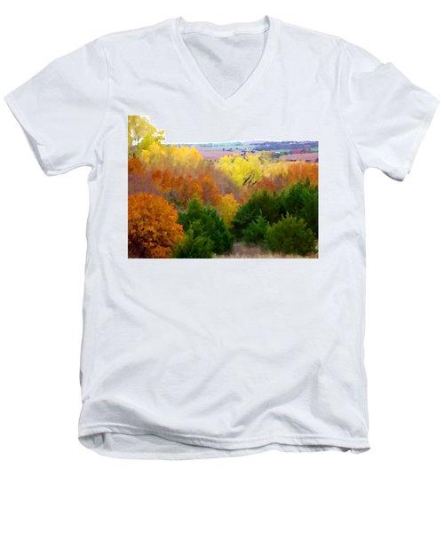 River Bottom In Autumn Men's V-Neck T-Shirt