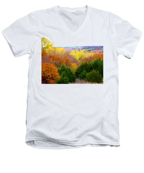 River Bottom In Autumn Men's V-Neck T-Shirt