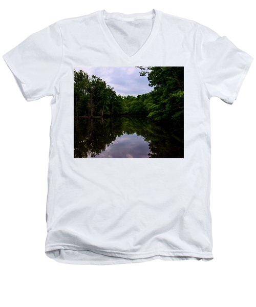 Men's V-Neck T-Shirt featuring the digital art River Reflections by Chris Flees