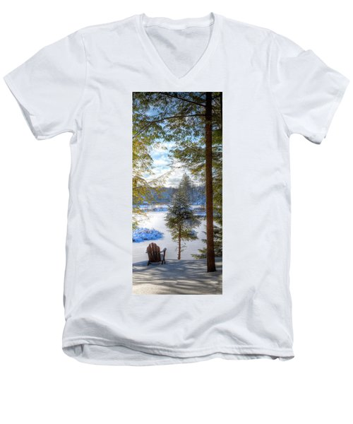 River View Men's V-Neck T-Shirt by David Patterson