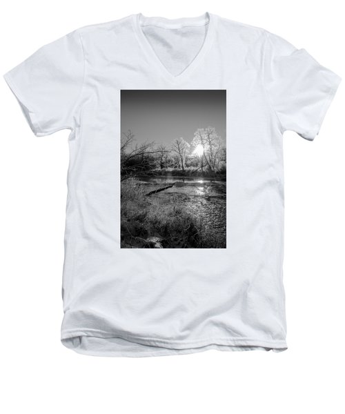 Men's V-Neck T-Shirt featuring the photograph Rivers Edge by Annette Berglund