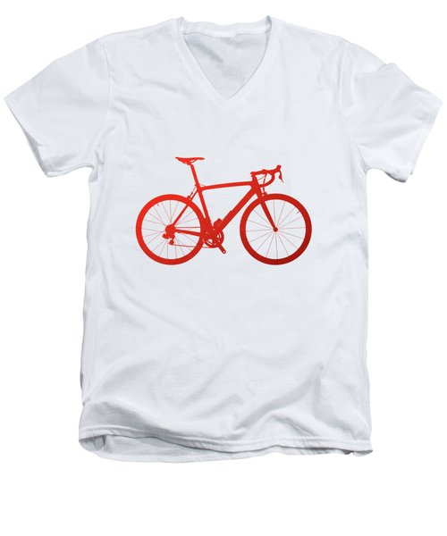 Road Bike Silhouette - Red On White Canvas Men's V-Neck T-Shirt by Serge Averbukh
